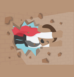 A african businessman breaking t the wall vector