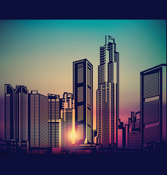 Abstract city landscape sunset sky vector