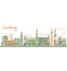Abstract Hamburg Skyline with Color Buildings vector