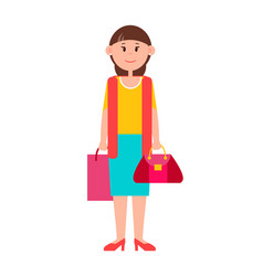 Adult woman in casual clothes with shopping bag vector