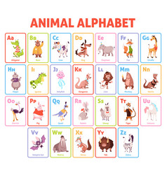 Alphabet cards funny animals letters educational vector