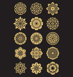 asian flowers icons set isolated on black vector image