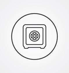 Bank safe outline symbol dark on white background vector