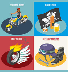 Bikers isometric design concept vector