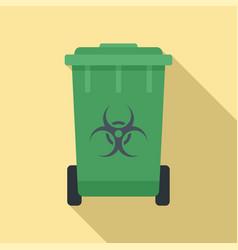 Biohazard garbage cart icon flat style vector