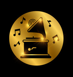 Black shiny gramophone and music notes on gold vector