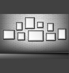 blank frames on brick wall background borders vector image