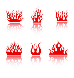 blazing retro fire flame set for fiery tattoo vector image