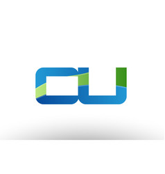 blue green cu c u alphabet letter logo vector image