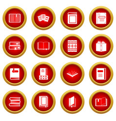 Books icon red circle set vector