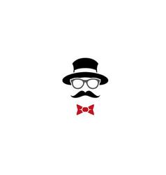 Bowler hat glasses mustache wear bow tie vector
