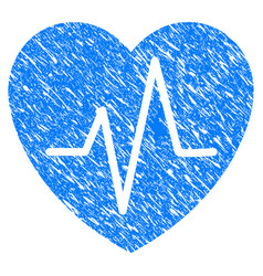 cardiology heart pulse grunge icon vector image