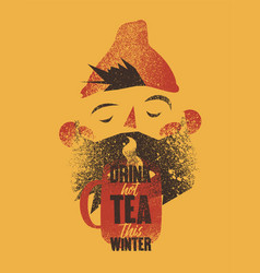 cartoon bearded man with cup of tea vector image