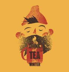 cartoon bearded man with cup tea vector image