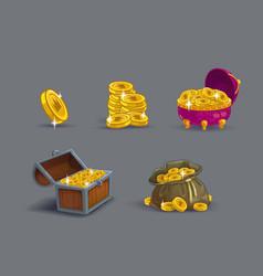 Cartoon golden coins icons set vector
