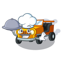 Chef with food jeep car toys in shape character vector