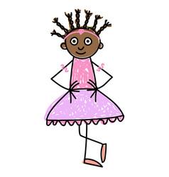 Children ballet dark skinned little girl vector