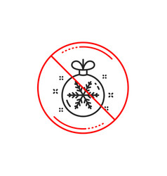 christmas ball with snowflake line icon new year vector image