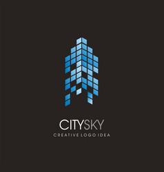 city skyline blue commercial building logo vector image