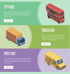 city transport isometric horizontal flyers vector image