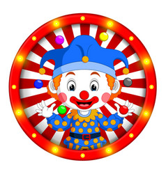 Clown banner with bright bulbs vector