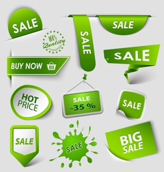 Collection web green pointers labels for shopping vector image