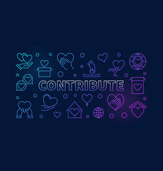 contribute colorful outline horizontal vector image
