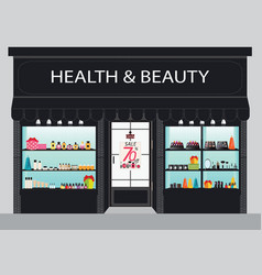 cosmetics store building and interior with vector image