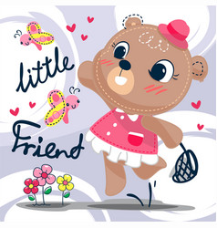 cute cartoon bear girl playing with butterfly vector image