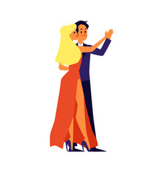 dancing couple man and woman characters flat vector image