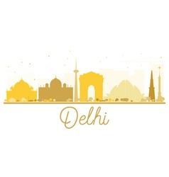 Delhi City skyline golden silhouette vector image
