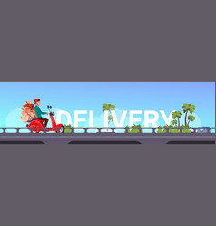 Delivery service man courier riding scooter or vector