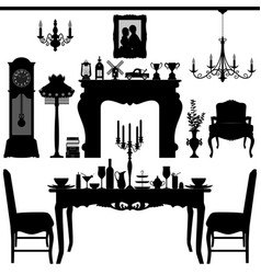 dining area traditional old antique furniture vector image