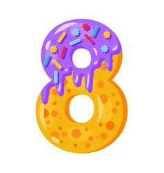 donut cartoon eight number vector image
