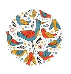 Elegant round composition with birds vector image