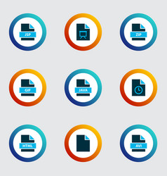 File icons colored set with temporary file file vector