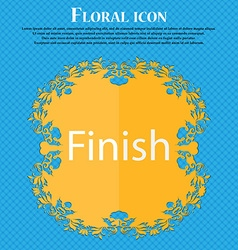 Finish sign icon Power button Floral flat design vector