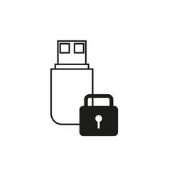 flash drive lock icon vector image