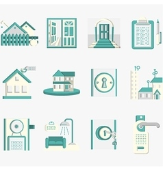 Flat blue icons for housing rent vector image