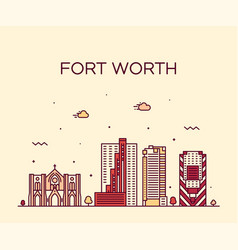 Fort worth skyline texas usa linear city vector