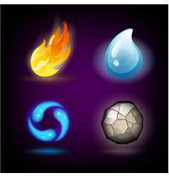 four forces or nature elements - water fire vector image
