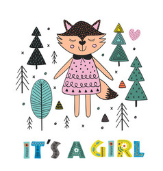 Fox girl in the forest scandinavian style vector