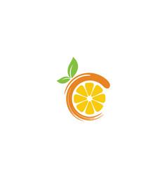 Fresh orange fruit slice lemon grapefruit logo vector