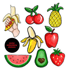 fruits stickers embroidery vector image