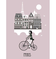 Girl on a bicycle in Paris vector image