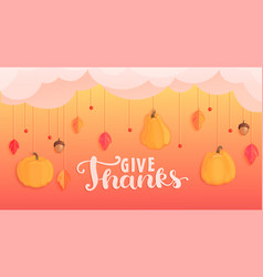 give thanks banner for happy holiday vector image