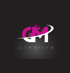 Gm g m creative letters design with white pink vector