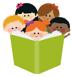 group kids reading a book vector image