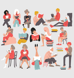group people reading books men and women vector image