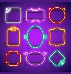 halloween neon frames set in gothic horror style vector image